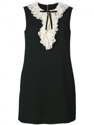 Короткое платье с оборками Philosophy Di Lorenzo Serafini. Цвет: чёрный