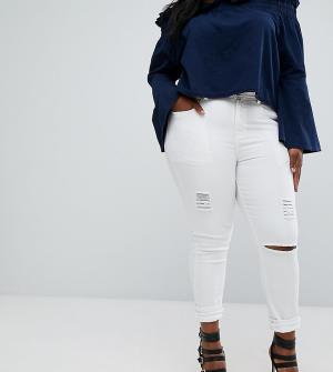 Boohoo Plus Рваные джинсы скинни. Цвет: белый