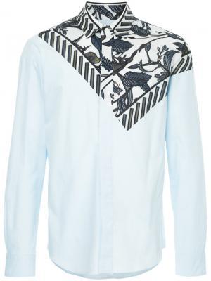 Leaf bandana print shirt Yoshiokubo. Цвет: синий