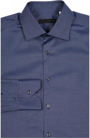 Приталенная сорочка с воротником кент Stanbridge. Цвет: синий
