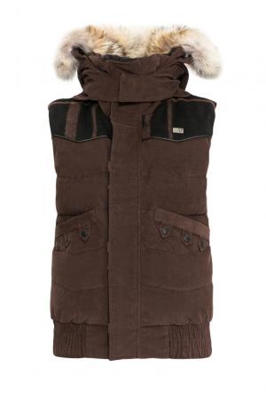 Велюровый пуховой жилет с капюшоном и мехом койота 152461 Nobis. Цвет: коричневый