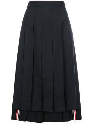 Плиссированная юбка Thom Browne. Цвет: синий