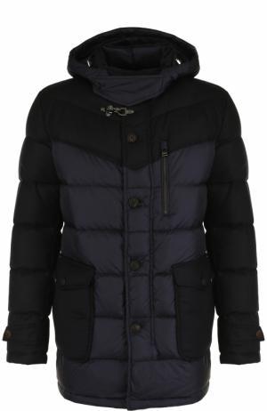 Утепленная куртка на молнии с капюшоном Windsor. Цвет: темно-синий