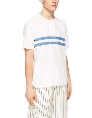 Рубашка из хлопка и льна YMC. Цвет: белый, голубой