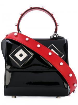 Лакированная сумка-тоут Alex Les Petits Joueurs. Цвет: чёрный