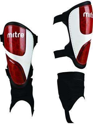 Щитки футбольные MITRE Septor IP с голеностопом. Цвет: красный, белый, черный