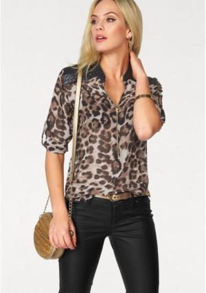 Блузка MELROSE. Цвет: коричневый/леопардовый