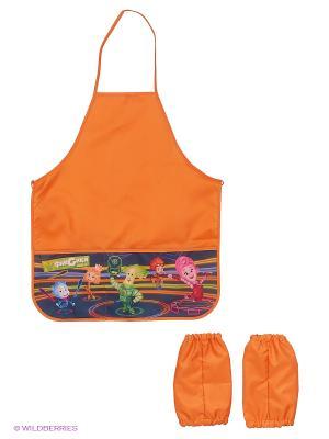 Фартук для труда с карманами и нарукавниками Фиксики Centrum. Цвет: оранжевый