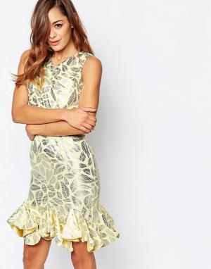 VLabel London Асимметричное платье мини с эффектом металлик Caxton. Цвет: золотой