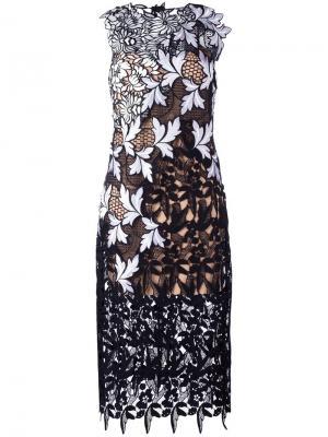 Платье с цветочной вышивкой Self-Portrait. Цвет: чёрный