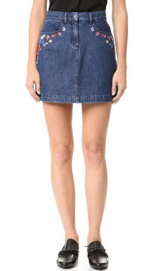 Мини-юбка из денима с вышивкой The Kooples. Цвет: голубой