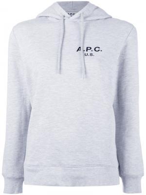 Logo hooded sweatshirt A.P.C.. Цвет: серый