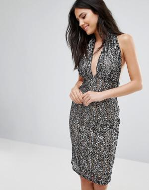 Love Кружевное платье-футляр с бретелью через шею. Цвет: мульти