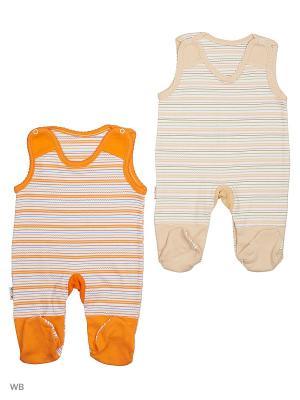 Полукомбинезон, 2 штуки Babycollection. Цвет: бежевый, оранжевый