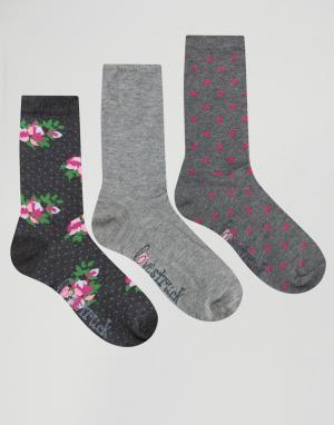 Lovestruck 3 пары носков в горошек с цветочным принтом. Цвет: серый