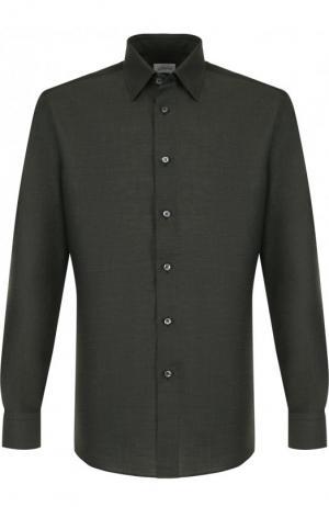 Рубашка из смеси льна и хлопка с воротником кент Brioni. Цвет: зеленый
