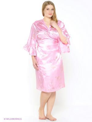 Халат CLEO. Цвет: бледно-розовый, белый, розовый