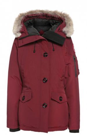 Утепленная куртка с капюшоном и меховой отделкой Canada Goose. Цвет: бордовый