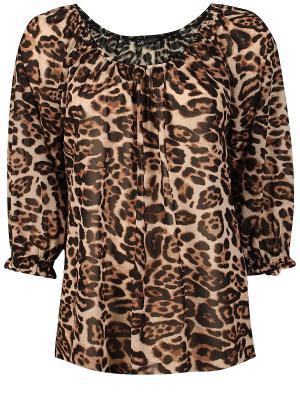 Блузка Oodji. Цвет: коричневый