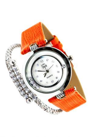 Набор: часы, браслет Taya. Цвет: серебристый, оранжевый