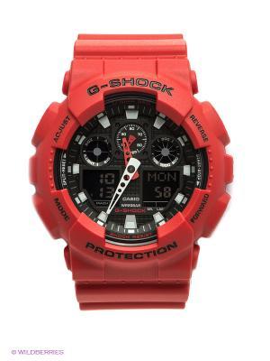 Часы G-SHOCK GA-100B-4A CASIO. Цвет: черный, красный