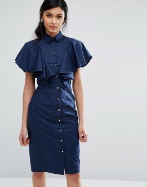 Closet London Платье-рубашка с оборкой. Цвет: темно-синий