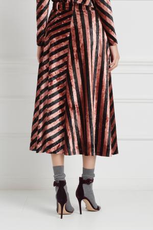 Бархатная юбка Inshade. Цвет: розовый, черный