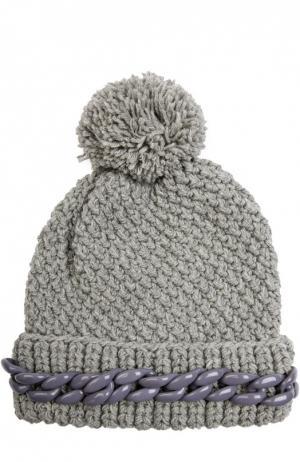Шерстяная шапка с декоративной цепью и помпоном 7II. Цвет: серый