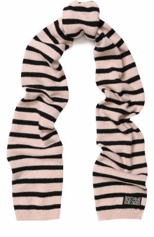 Вязаный шарф в полоску No. 21. Цвет: светло-розовый