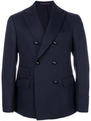 Двубортный пиджак The Gigi. Цвет: синий