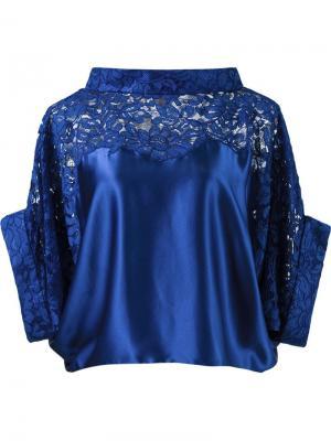 Укороченная кружевная блузка Martha Medeiros. Цвет: синий