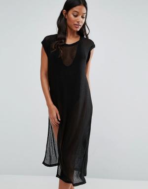 Evil Twin Пляжное сетчатое платье миди с высокими разрезами. Цвет: черный