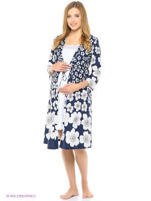 Комплект женский для беременных и кормящих Hunny Mammy. Цвет: белый, синий