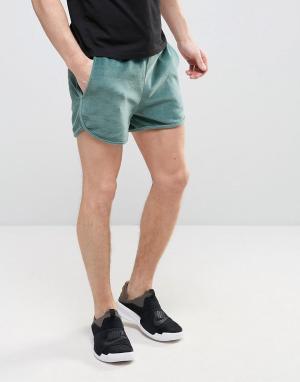 ASOS Махровые трикотажные шорты. Цвет: зеленый