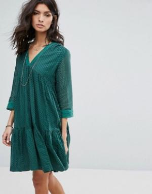 BA&SH Свободное платье. Цвет: зеленый