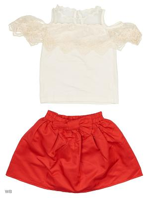 Комплект: блуза и юбка-шорты Gleoite Wardrobe. Цвет: белый, красный