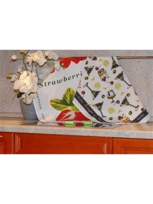 Набор печатных полотенец 2 штуки SET-4 (Коктейли,Клубника) в пакете ТекСтиль для дома. Цвет: белый, черный, зеленый, красный, желтый