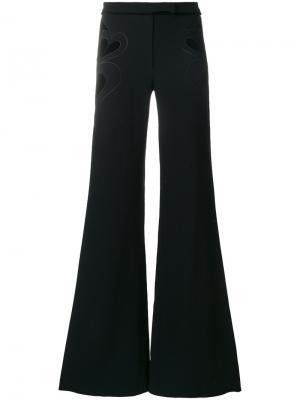 Расклешенные брюки с бархатными сердцами Elie Saab. Цвет: чёрный