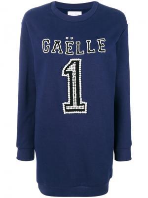 Платье-джемпер с логотипом Gaelle Bonheur. Цвет: синий