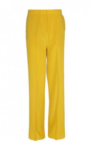 Шелковые прямые брюки со стрелками Rochas. Цвет: желтый