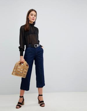 New Look Укороченные широкие джинсы. Цвет: синий