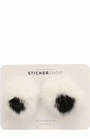 Стикеры Eyes Fur из меха норки Anya Hindmarch. Цвет: белый