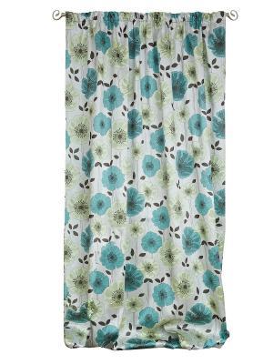 Штора-портьера Маки 200*260 IZKOMODA. Цвет: салатовый, голубой, серебристый