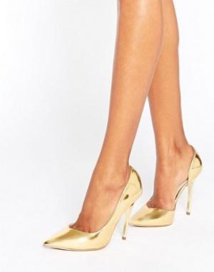 Office Золотистые зеркальные туфли-лодочки Shadow. Цвет: золотой