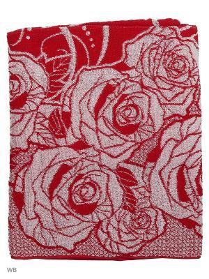 Полотенце махровое пестротканое жаккардовое Розы в сердцах Авангард. Цвет: темно-красный, бледно-розовый, красный