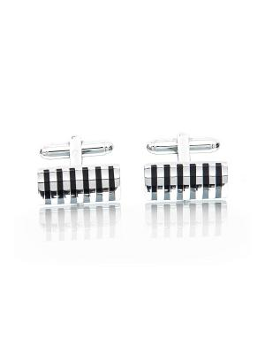 Запонки классические прямоугольники полоски Churchill accessories. Цвет: серебристый