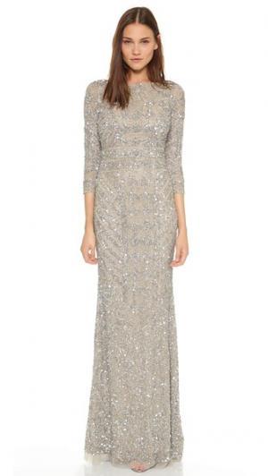 Вечернее платье с блестками и V-образным вырезом на спине Theia. Цвет: золотой