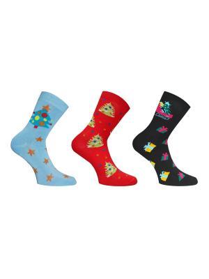 Носки, 3 пары Master Socks. Цвет: бирюзовый, красный, черный