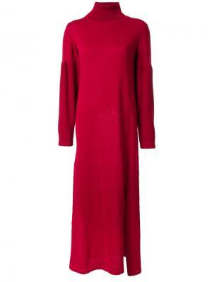 Трикотажное платье со шлицей сбоку Maison Mihara Yasuhiro. Цвет: красный