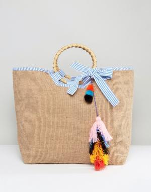 America & Beyond Фестивальная сумка из джута с разноцветной кисточкой. Цвет: бежевый